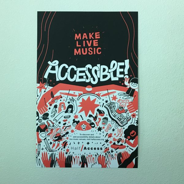 Make live music accessible poster on wall